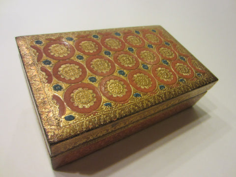 Italy A Decorative Craft Florentia Hand Made Terracotta Carved Floral Gold Box - Designer Unique Finds