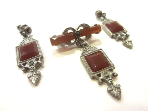 Art Deco Marcasites Agate Glass Gems Jewelry Set Brooch Earrings