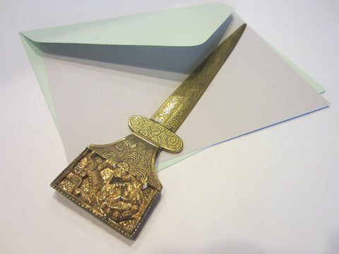 Asian Brass Letter Opener Elaborate Dragons Floral Chasing - Designer Unique Finds   - 1