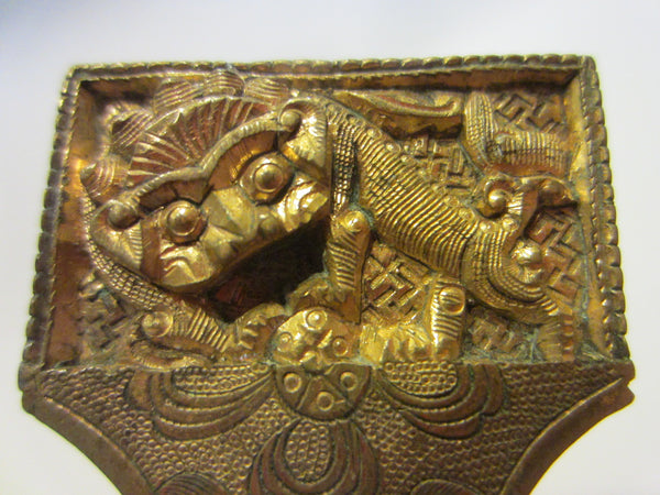 Asian Brass Letter Opener Elaborate Dragons Floral Chasing - Designer Unique Finds   - 2