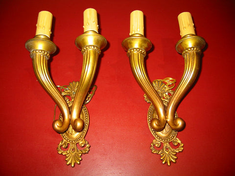 French Gilt Bronze Two Light Sconces Circa 1920s - Designer Unique Finds