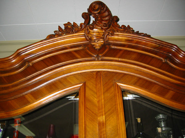 Provincial French Walnut Armoire Double Beveled Glass Doors - Designer Unique Finds   - 3
