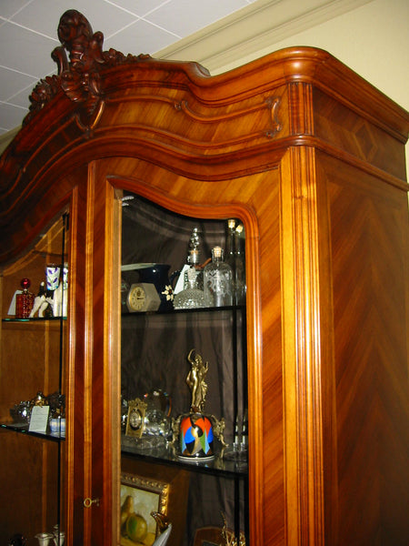 Provincial French Walnut Armoire Double Beveled Glass Doors - Designer Unique Finds   - 5