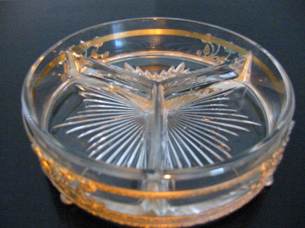 Brass Serving Relish Dish Divided Glass Insert Tray Ormolu Footed Floral Finial - Designer Unique Finds   - 5