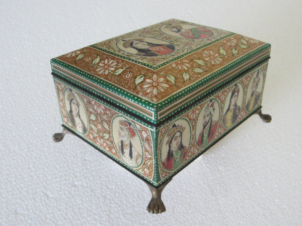 Mughal Portraits Hand Decorated Inlaid Footed Jewelry Box - Designer Unique Finds