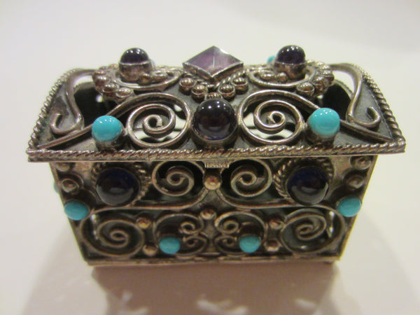 Sterling Miniature Chest Raised Highlighted Scrolled Turquoise Stones - Designer Unique Finds   - 2