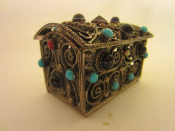 Sterling Miniature Chest Raised Highlighted Scrolled Turquoise Stones - Designer Unique Finds   - 5