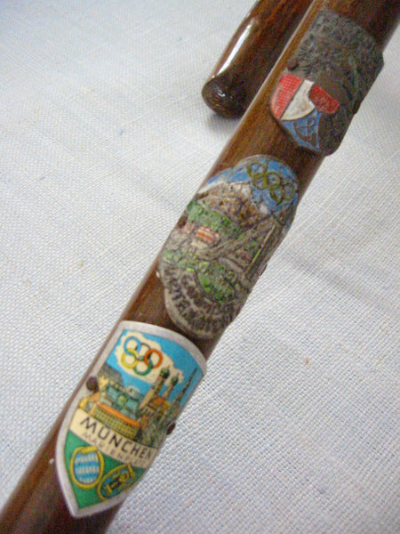 Munich Olympic Cane Sport Memorabilia Walking Stick Enamel Shields - Designer Unique Finds