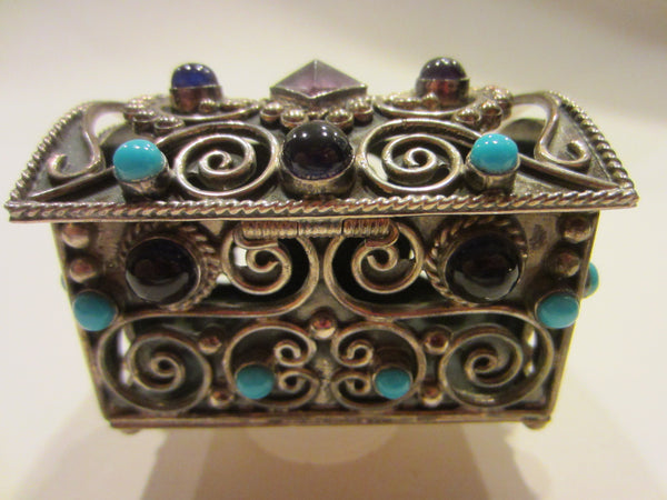 Sterling Miniature Chest Raised Highlighted Scrolled Turquoise Stones - Designer Unique Finds   - 4
