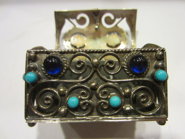 Sterling Miniature Chest Raised Highlighted Scrolled Turquoise Stones - Designer Unique Finds   - 3