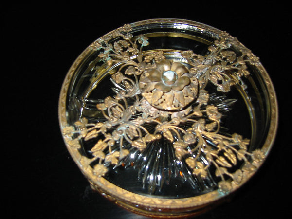 Brass Serving Relish Dish Divided Glass Insert Tray Ormolu Footed Floral Finial - Designer Unique Finds   - 1
