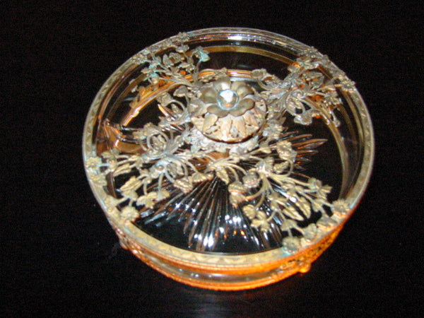 Brass Serving Relish Dish Divided Glass Insert Tray Ormolu Footed Floral Finial - Designer Unique Finds   - 2