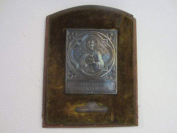 Silver Religious Icon Plaque Circa 1914 Mount Leather Velvet - Designer Unique Finds