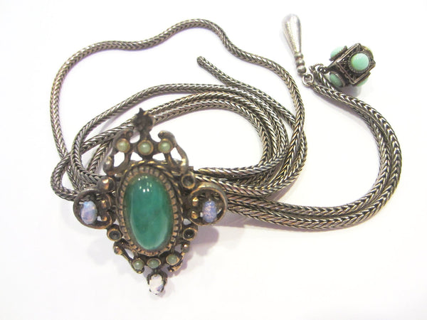 Victorian Book Piece Charm Bracelet Silver Filigree Jade Turquoise Decoration