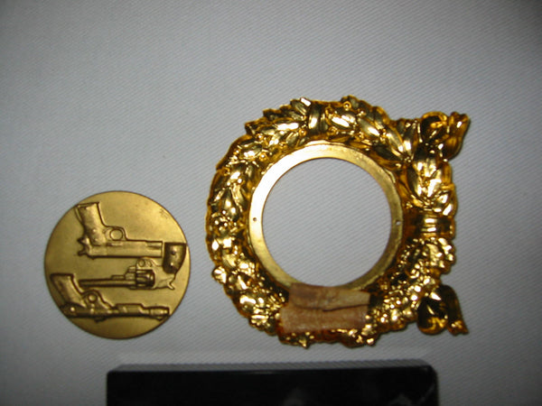 Italian Marble Brass Riffles Wreath Art Deco Signed Paperweight - Designer Unique Finds   - 2