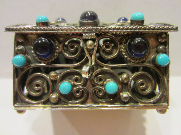 Sterling Miniature Chest Raised Highlighted Scrolled Turquoise Stones - Designer Unique Finds   - 1