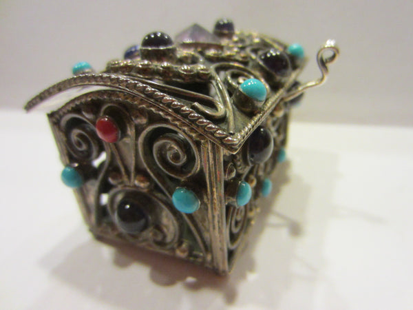 Sterling Miniature Chest Raised Highlighted Scrolled Turquoise Stones - Designer Unique Finds   - 7