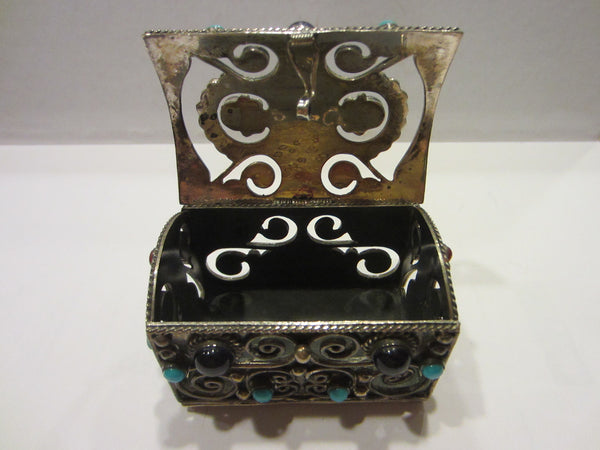 Sterling Miniature Chest Raised Highlighted Scrolled Turquoise Stones - Designer Unique Finds   - 8