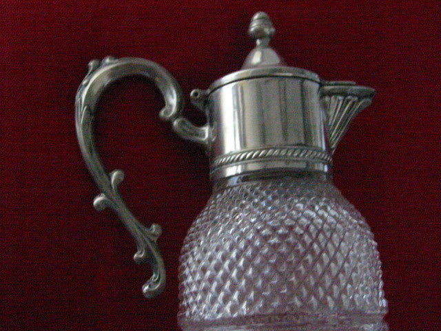 Silver Plated Diamond Cut Glass Water Pitcher Apothecary Decanter - Designer Unique Finds