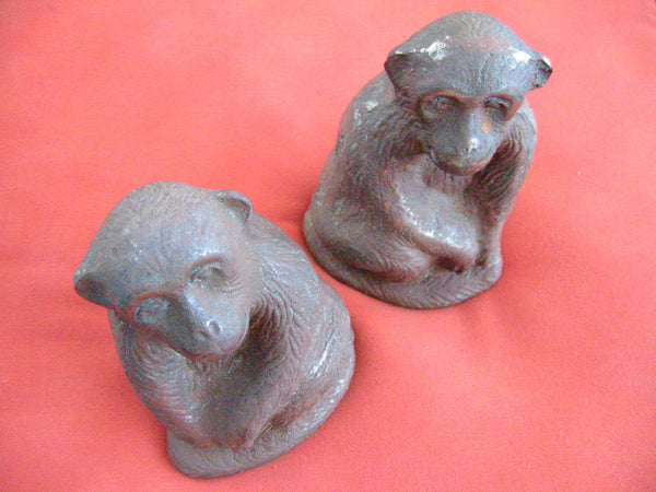 The Monkeys Cast Iron Door Stoppers Book Ends - Designer Unique Finds