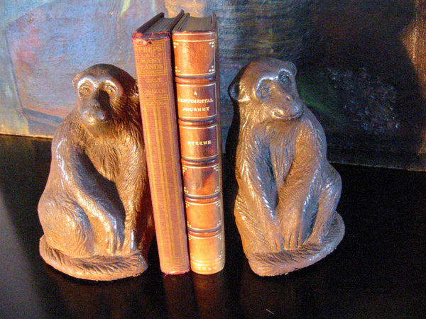 The Monkeys Cast Iron Door Stoppers Book Ends - Designer Unique Finds   - 1