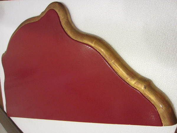 Italian Red Console Tuscan Wood Gold Leaf Shell Decorated - Designer Unique Finds   - 13