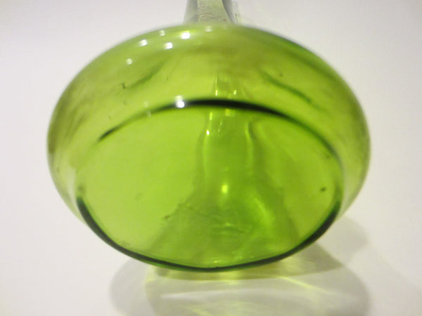 Hand Blown Kelly Green Glass Bud Vase Decorated Beading Enameling - Designer Unique Finds   - 4