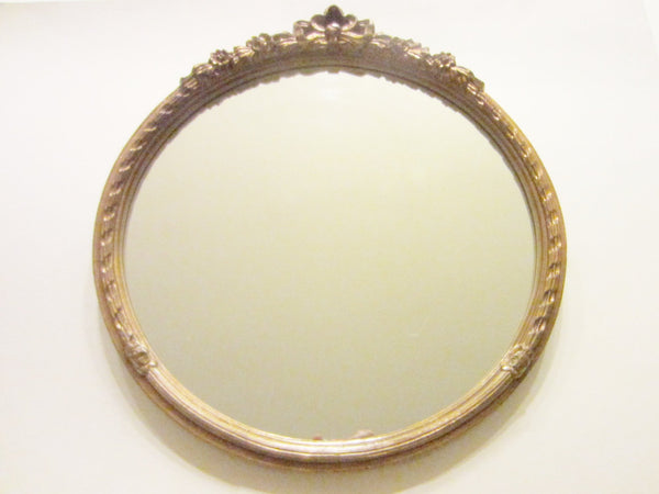Carolina Mirror Company Round Mirror with Floral Bow Crest Rococo Style - Designer Unique Finds