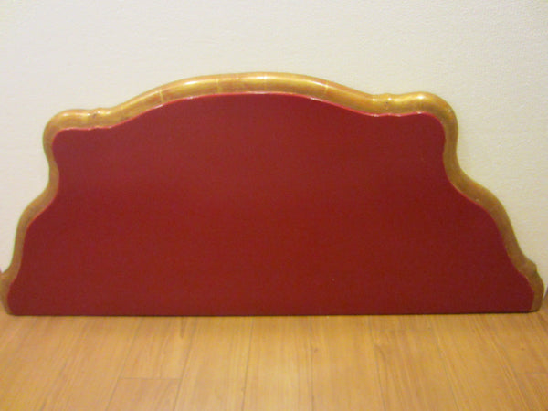 Italian Red Console Tuscan Wood Gold Leaf Shell Decorated - Designer Unique Finds
