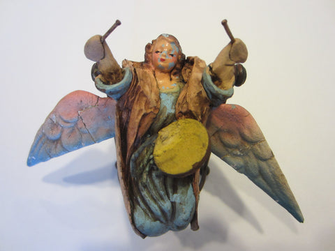 Angelic Drummer Paper Mache Folk Art Hand Colored With Wings