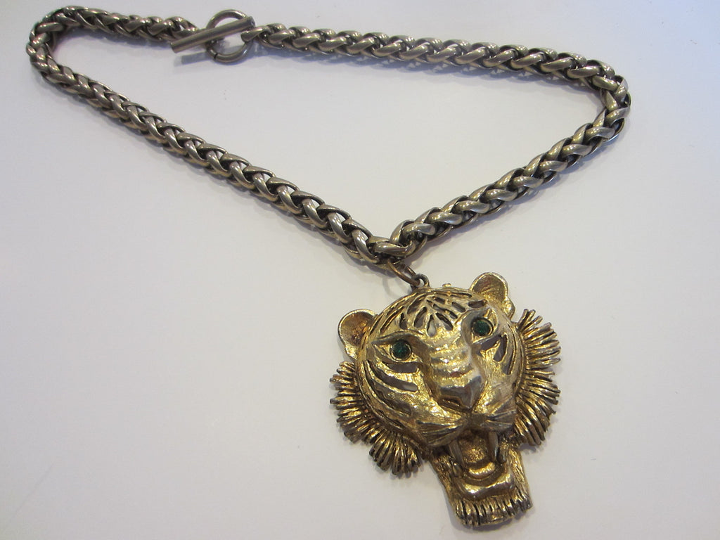 Green eyes panther golden head brass chain pendant necklace green eyes golden lion head brass chain pendant designer unique finds 2 aloadofball Image collections