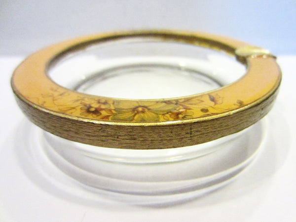 Brass Enameled Glass Ashtray Bowl Floral Ornamentation - Designer Unique Finds   - 1