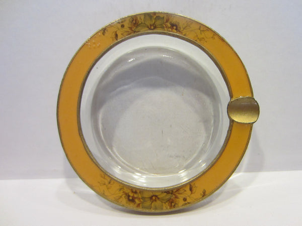 Brass Enameled Glass Ashtray Bowl Floral Ornamentation - Designer Unique Finds   - 3