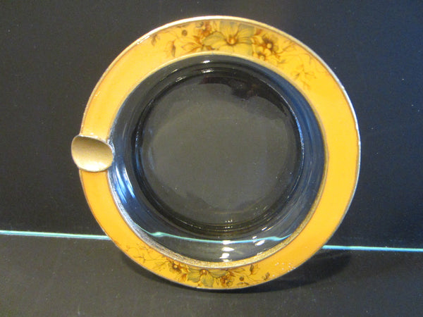 Brass Enameled Glass Ashtray Bowl Floral Ornamentation - Designer Unique Finds   - 2