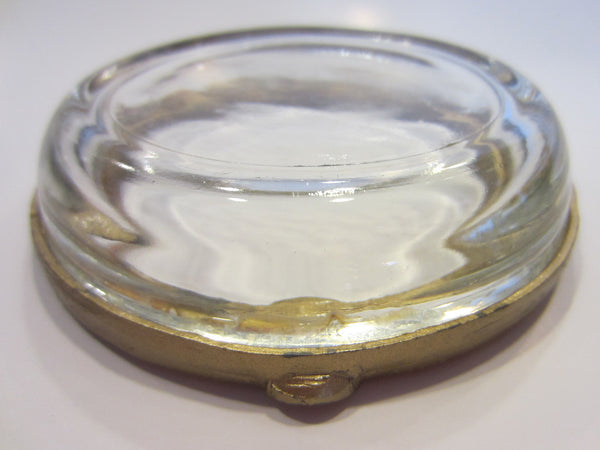 Brass Enameled Glass Ashtray Bowl Floral Ornamentation - Designer Unique Finds   - 4