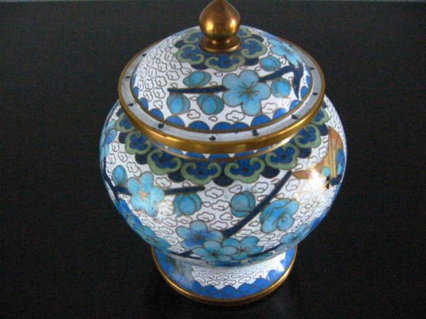 Chinese Jingfa Cloisonne Ginger Jar Enameling Blue Flowers - Designer Unique Finds   - 1