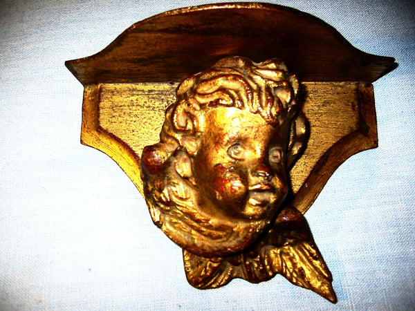 Decorative Craft Florentia Italian Angel Gold Leaf Wall Sconce - Designer Unique Finds