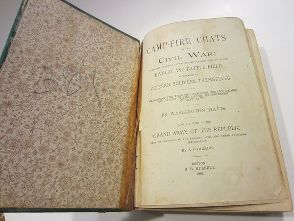 Camp Fire Chats of The Civil War Illustrated Historic Book By Washington Davis - Designer Unique Finds   - 3