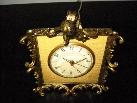 Art Deco American Cherub Crest Brass Electric Clock - Designer Unique Finds   - 1