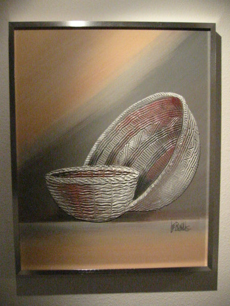 Lee Reynolds Modernist Acrylic Abstract Signed Pop Art Native Baskets - Designer Unique Finds   - 1