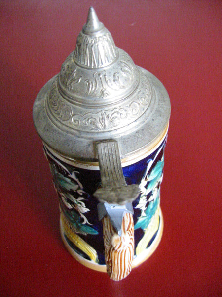 Germany Luster Figurative Majolica Pottery Beer Stein Pewter Lid Marked DBGM - Designer Unique Finds