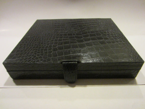 Crocodile Style Black Leather Cigar Box Humidor Interior - Designer Unique Finds   - 2