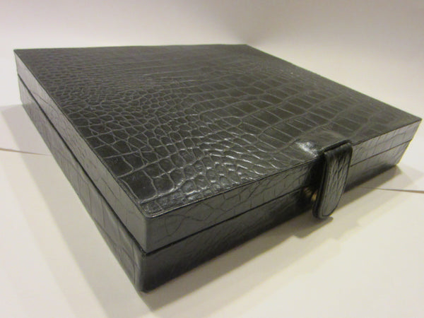 Crocodile Style Black Leather Cigar Box Humidor Interior - Designer Unique Finds   - 3