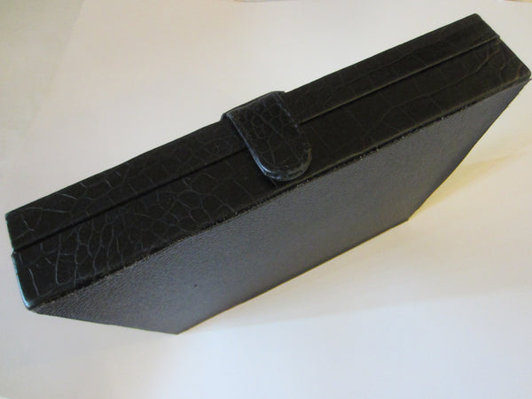 Crocodile Style Black Leather Cigar Box Humidor Interior - Designer Unique Finds   - 8