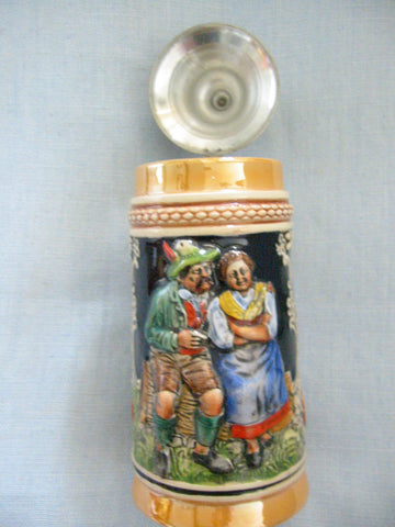 West Germany Luster Figurative Majolica Ceramic Stein Pewter Lid Marked - Designer Unique Finds