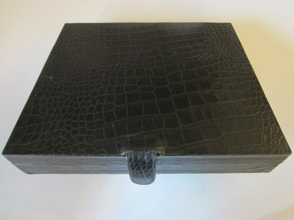 Crocodile Style Black Leather Cigar Box Humidor Interior - Designer Unique Finds   - 1