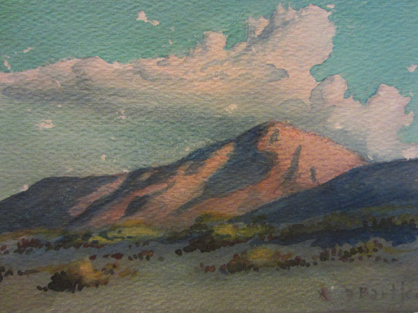 Desert Landscape Watercolor Guache Mountain View Signed By Artist - Designer Unique Finds