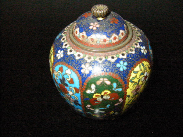 Cloisonne Ginger Jar Butterfly Flowers Enameled Medallion Gems - Designer Unique Finds