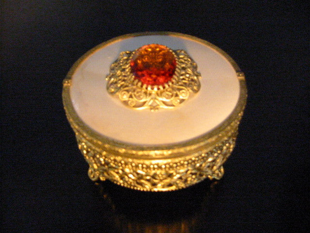 Brass Filigree Footed Glass Powder Jar Amber Cabochon Decoration - Designer Unique Finds