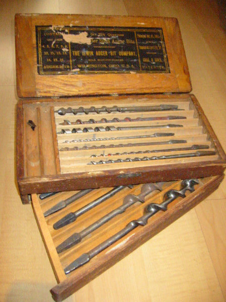 Irwin Auger Bit Carpentry Tool Set Wooden Sectional Case - Designer Unique Finds   - 4